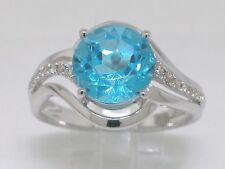 Blautopas Ring 585 Weißgold 14Kt Gold natürlicher beh. Blautopas  16 Brillanten