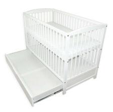 Babybett Kinderbett Gitterbett Holz 120x60 Weiß Schublade + Matratze NEU