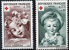 Frankreich Neu n°1366 und 1367 Rotes Kreuz 1962. Fragonard