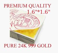 "EDIBLE GOLD LEAF 1.6"" 10 SHEETS REAL PURE GOLD 24K 999 GILDING"