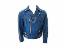 DISCOUNTED SMALL SIZE MENS HEAVY DUTY BLUE LEATHER MOTORCYCLE JACKET D-98