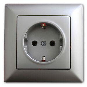 Visage Silber Steckdose Serien Wechsel Schalter LED Kindersicherung