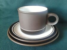 HORNSEA CONTRAST TEA TRIO EARTHENWARE TEACUP SAUCER & SIDE PLATE BROWN AND WHITE
