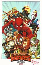 Greg Land Signed Marvel Comics Art Print ~ Secret Wars Spiderman Hulk Avengers