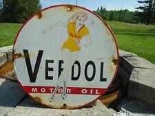 OLD VINTAGE 1953 VEEDOL MOTOR OIL PORCELAIN ENAMEL GAS PUMP ADVERTISING SIGN
