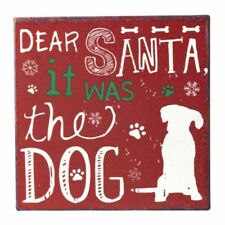 "Red/Cream Magnet ""Dear Santa it was the Dog"" Christmas Metal Plaque/Sign 10x10cm"