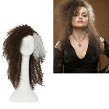 Bellatrix Cosplay Wig Curly Brown Gray Wavy Hair Costume Props Halloween Party