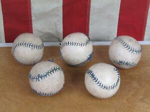 Vintage 1940s Bounder Ball Baseballs Group 5 Leather Blue Stitch Great Display!