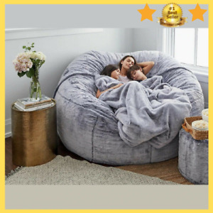 ⭐NEW Microsuede 6ft Foam Giant Bean Bag Living Room Chair Memory Lazy Sofa Cover