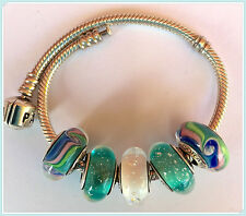 5 Authentic  Pandora 925 ale silver CHARMS BEADS glass green k