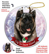 Akita Dog Christmas Holiday Ornament Up To Snow Good