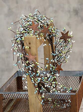 "Pip Berry Garland w/ Rusty Tin Stars - 40"" L - Seabreeze - Blue Green Off White"