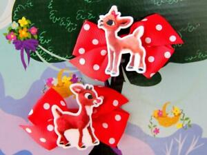 Rudolph the Red-Nosed Reindeer Inspired Handmade Hair Clip Christmas Santa Claus