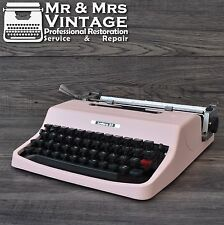 Serviced Pink Olivetti Lettera 32 Typewriter Working Black Red ribbon Vintage