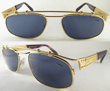 RARE ORIGINAL HOLLYWOOD STYLE VINTAGE UNISEX SUNGLASSES  METAL GOLD / BLUE