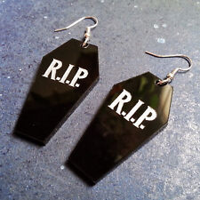 Big Halloween RIP Black Coffin Dangle Style Vampire Goth Earrings Costume