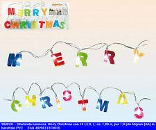 Ghirlanda natalizia scritta colorata e 14 led luminosi addobbo finestre vetrine