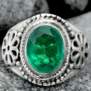 Artisan - Emerald Simulated 925 Sterling Silver Ring s.6 Jewelry 8627