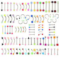 105X Mixed Body Jewelry Eyebrow Navel Belly Lip Tongue Nose Piercing Bar Ring UK