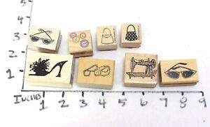Wooden RUBBER STAMP Block Lot Fashion Shoes Purse buttons Sewing Machine