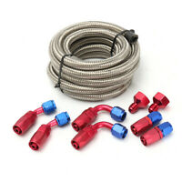 3.6M AN6 Stainless Steel Braided Oil Fuel Line Hose w/ Fitting End Adapter  !