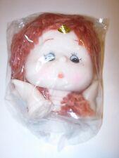 "3 1/2"" doll head & hands red hair brown eyes girl parts making crafts repair *"