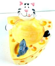 Ceramic Cat Food Dish Cat/Mouse/Cheese