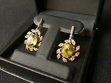 OVAL CUT TOP  YELLOW QUARTZ RED RUBY CLUSTER SILVER EARRINGS 1/2 PRICE