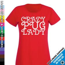 Ladies Crazy Pug Lady T Shirt - Doggie - Dog Lover - Cute Puppy Gift - Tshirt