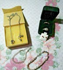 Sterling Silver Mixed Jewelry Lot 7.  2 rings, 2 neck. 2 bracelets , earrings
