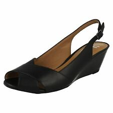 Ladies Clarks Sling Back Sandals BRIELLE Kae UK 7 Black Leather D