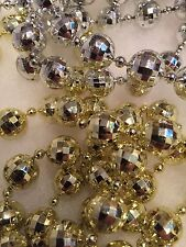 """Faux Mercury Glass Bead Feather Tree Garland Silver Gold Faceted Fancy 165"""""""