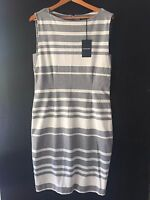 [CR LOVE] NEW! SZ XL (16) COUNTRY ROAD PONTE SHIFT DRESS STRIPED GREY MARLE