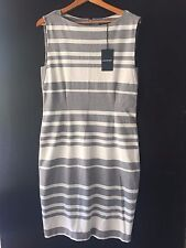 [CR LOVE] NEW! SZ XL (16) COUNTRY ROAD PONTE SHIFT DRESS STRIPED GREY MARLE