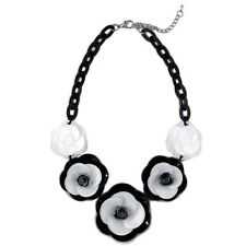 Black White Monochrome Floral Flower Fashion Statement Necklace Jewelry Bold
