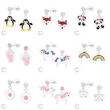 925 Sterling Silver Swarovski Elements Stud Earrings Unicorn Rainbow Owl Animal