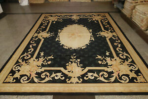 Gorgeous Black Aubusson Wool Rug Golden French Swirls Pink Rose Hand Woven