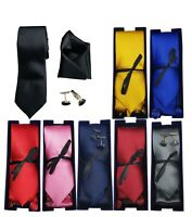 Men Tie Skinny Classic Satin/Silk Cufflinks Pocket Square Wedding Plain Smart