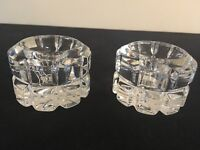 """SET OF 2 Mikasa REFLECTIONS Lead Crystal 2"""" Taper Candle Holders; EUC!"""