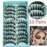 10 Pairs Fashion 3D Faux Mink Hair False Eyelashes Cross Wispy Fluffy Lashes