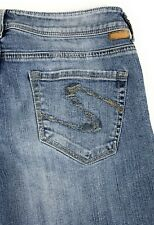 Silver Faro Low Rise Flare Stretch Light Wash Distressed Blue Jeans Womens 30x33