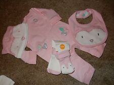 NWT 0-3M GYMBOREE Girls FOREST OWL 5pc Set Pink ROMPER Socks Bib Hat Outfit