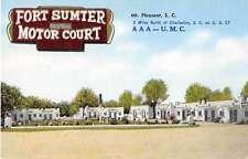 Mount Pleasant South Carolina Fort Sumter Motor Court Antique Postcard J51407