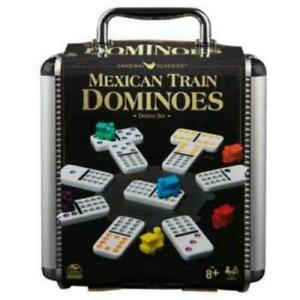 Classic Games Mexican Train Dominoes in Aluminium Carry Case (2020 Refresh)