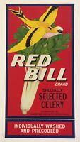 Vintage Red Bill Brand Celery Crate Label Detroit Michigan Harry Becker & Co