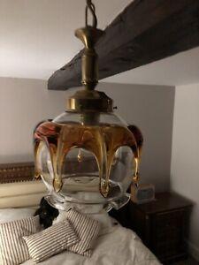 Pendant ceiling light Murano Amber Drip Glass Mazzega 70s Vintage Handblown