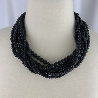 Multi Strand Black Plastic Beaded Necklace Vintage Statement