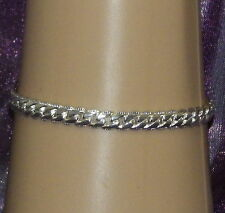 New 925 Sterling Silver Filled 5mm Edged Flat Curb Link Bracelet Lobster Clasp