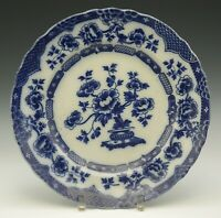 "ALBERT JONES STAFFORDSHIRE FLOW BLUE PEKIN CHOP PLATE 11.3/4"" ANTIQUE c.1909"