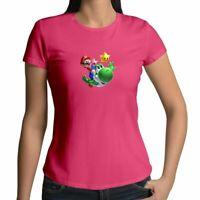 Super Mario Galaxy Cute Yoshi Juniors Girl Womens Tee T-Shirt Short Sleeve S-2x